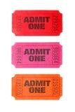 Três admitem que um tickets Imagens de Stock