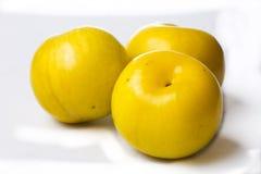 Três ameixas amarelas Imagens de Stock Royalty Free