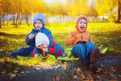 Três amigos novos de sorriso que sentam-se na grama imagem de stock