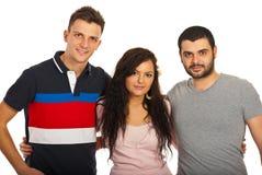 Três amigos unidos Fotografia de Stock