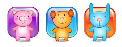 Três animais do brinquedo fotografia de stock royalty free