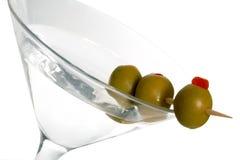 Três azeitona Martini Fotos de Stock