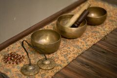 Três bacias sadias no assoalho de madeira foto de stock royalty free
