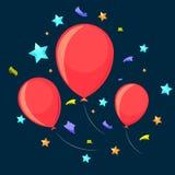 Três balões festivos ilustração stock