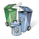 Três baldes do lixo cómicos Imagens de Stock Royalty Free