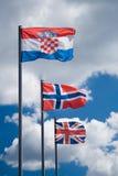 Três bandeiras imagens de stock