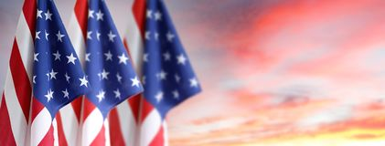 Três bandeiras americanas foto de stock royalty free