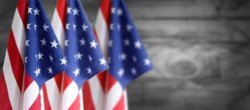Três bandeiras americanas foto de stock