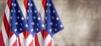 Três bandeiras americanas imagens de stock royalty free