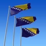 Três bandeiras de Bósnia e de Herzegovina de encontro ao azul ilustração do vetor