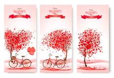 Três bandeiras do dia de Valentim com árvores cor-de-rosa Imagens de Stock Royalty Free