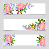 Três bandeiras florais Fotos de Stock Royalty Free