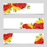 Três bandeiras florais Fotografia de Stock