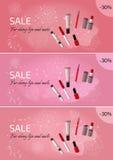 Três bandeiras horizontais para a venda dos cosméticos Imagem de Stock