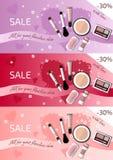 Três bandeiras horizontais para a venda dos cosméticos Imagens de Stock Royalty Free