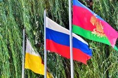 Três bandeiras no parque fotos de stock royalty free