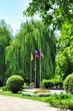 Três bandeiras no parque imagem de stock