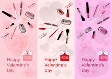 Três bandeiras verticais para a venda dos cosméticos Imagem de Stock Royalty Free
