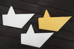 Três barcos de papel Fotografia de Stock