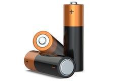 Três baterias em um fundo branco, 3D rendem Fotografia de Stock Royalty Free