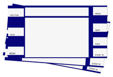 Três bilhetes azuis com trajeto de grampeamento Foto de Stock Royalty Free