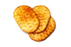 Três biscoitos ovais sobre o branco Imagem de Stock