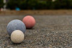 Três bolas de Bocce com espaço da cópia Fotografia de Stock