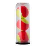 Três bolas de tênis no potenciômetro isolado no branco Fotografia de Stock Royalty Free