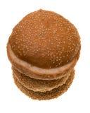 Três bolos de Hamburger Foto de Stock