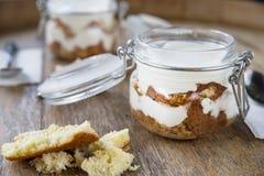 Três bolos do leite, leches dos tres endurecem com coco Sobremesa tradicional da América Latina Fotos de Stock