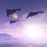 Três bombardeiros B2 Fotos de Stock