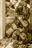 Três bonecas do macaco são moldadas usando as orelhas do fim da ação da mão, olhos Fotos de Stock