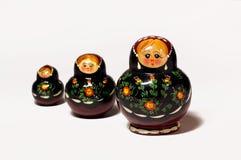 Três bonecas tradicionais da madeira do russo Foto de Stock