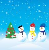 Três bonecos de neve ilustração do vetor
