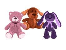 Três brinquedos bonitos do luxuoso, um cão, um urso e uma lebre ilustração royalty free