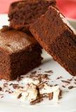 Três brownies do chocolate Imagem de Stock