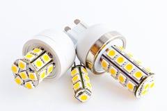 Três bulbos do diodo emissor de luz com os 3 diodos emissores de luz da microplaqueta SMD Imagem de Stock