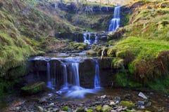 Três cachoeiras bonitas, Nant Bwrefwy, Blaen-y-Glyn superior Imagem de Stock