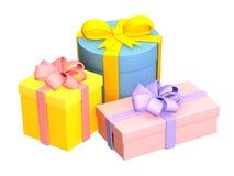 Três caixas com os presentes, prendidos por fitas Foto de Stock Royalty Free