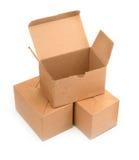 Três caixas de cartão no branco imagens de stock royalty free