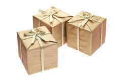 Três caixas de presente Fotografia de Stock Royalty Free