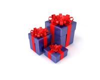Três caixas de presente Fotos de Stock Royalty Free