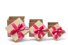 Três caixas de presente abertas Imagens de Stock