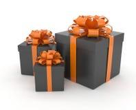 Três caixas de presente com curvas no branco Imagens de Stock