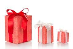 Três caixas de presente cor-de-rosa Imagens de Stock