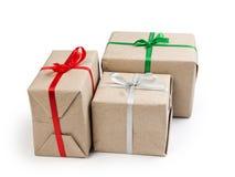 Três caixas de presente do papel recicl Fotografia de Stock