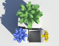 Três caixas de presente em um fundo branco Ilustração do Vetor