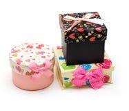 Três caixas de presente hand-made Imagens de Stock