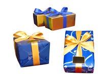 Três caixas de presente isoladas Fotografia de Stock