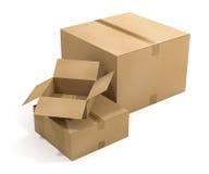 Três caixas de transporte Fotos de Stock